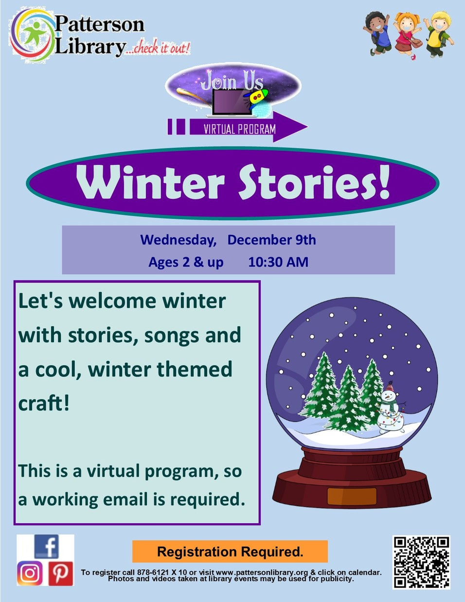 VIRTUAL - FREE! Winter Stories with Patterson Library